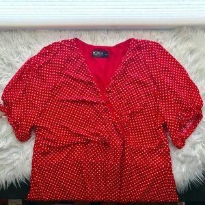 IGIGI Red and White Polkadot A-Line V Neck Dress